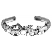 BE431   Galloping Horses Bangle Sterling Silver Ari D Norman